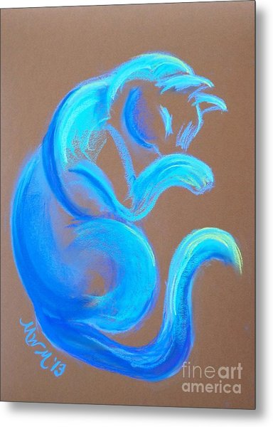Blue Like Cats Metal Print