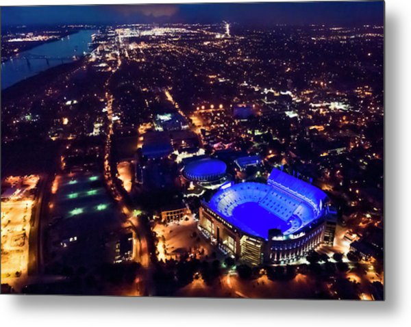 Blue Lsu Tiger Stadium Metal Print