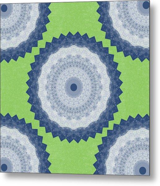 Blue Mandala- Art By Linda Woods Metal Print