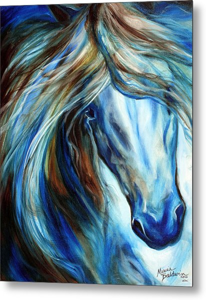 Blue Mane Event Equine Abstract Metal Print