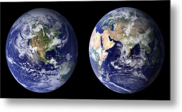 Metal Print featuring the pyrography Blue Marble by Artistic Panda