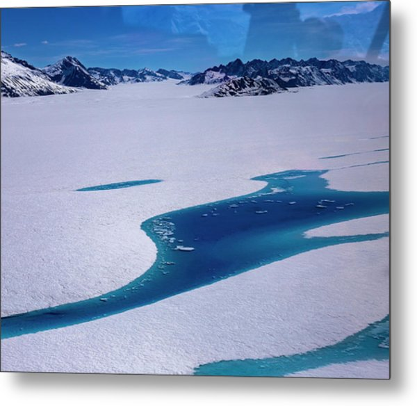 Metal Print featuring the photograph Blue Meltwater Lake  by Fred Denner