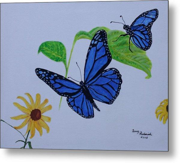 Blue Monarch Metal Print