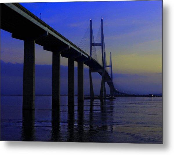 Blue Mood Bridge Metal Print