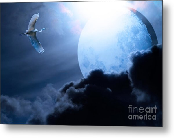 Blue Moon - 7d12372 Metal Print by Wingsdomain Art and Photography