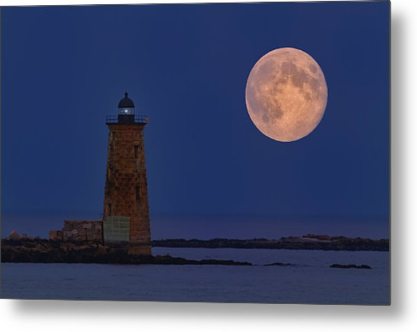 Blue Moon Over Whaleback Lighthouse Metal Print