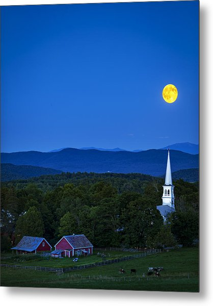 Blue Moon Rising Over Church Steeple Metal Print