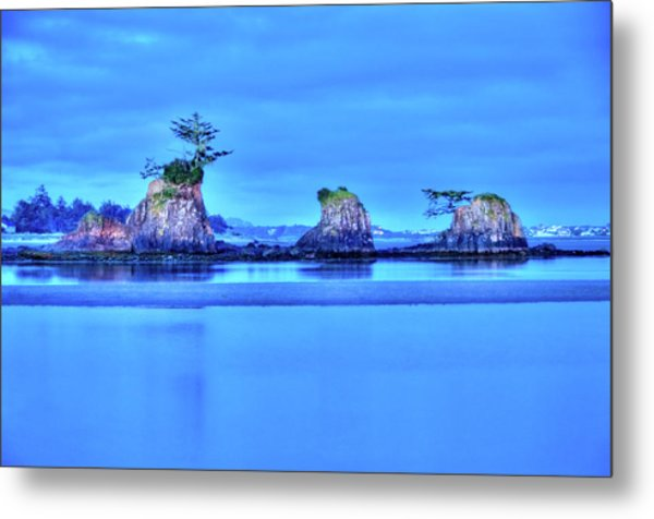 Blue Morning Siletz Bay Oregon Metal Print