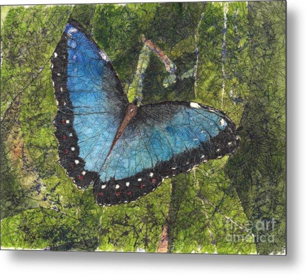 Blue Morpho Butterfly Batik Metal Print