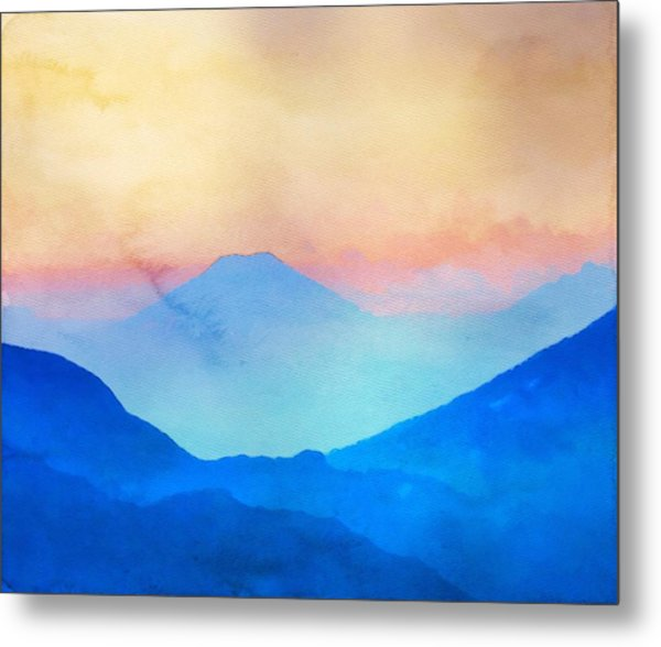 Blue Mountains Watercolour Metal Print