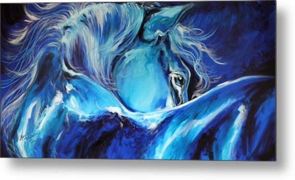 Blue Night Abstract Equine Metal Print