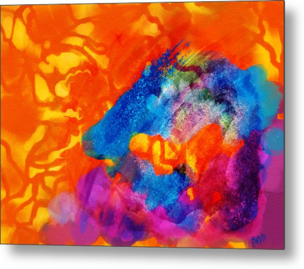 Blue On Orange Metal Print