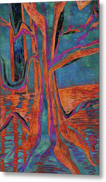 Blue-orange Warm Dusk River Tree Metal Print