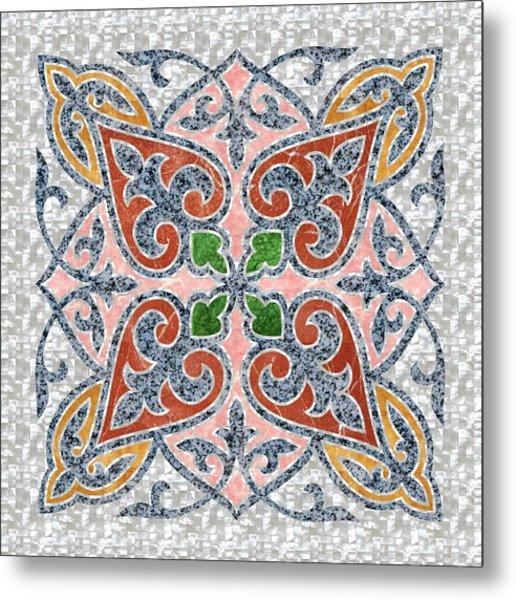 Blue Oriental Tile 03 Metal Print