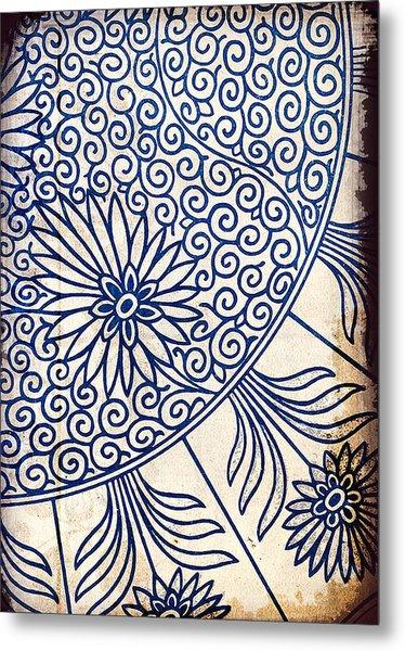 Blue Oriental Vintage Tile 01 Metal Print