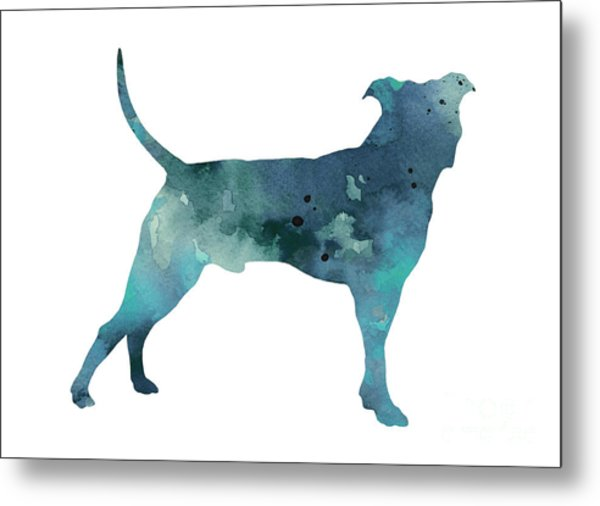 Blue Pit Bull Watercolor Art Print Painting Metal Print