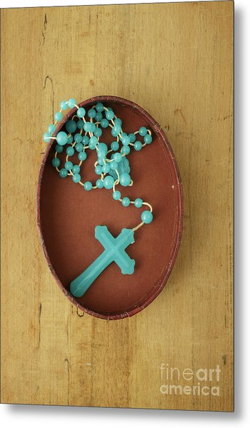 Blue Plastic Rosary In Oval Box Metal Print