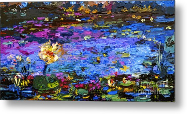 Blue Pond Modern Impressionist Painting By Gin Metal Print