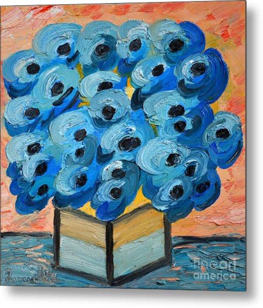 Blue Poppies In Square Vase  Metal Print