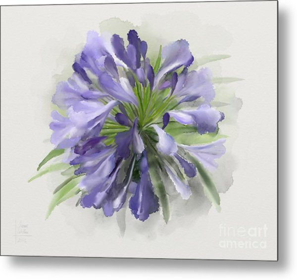 Blue Purple Flowers Metal Print