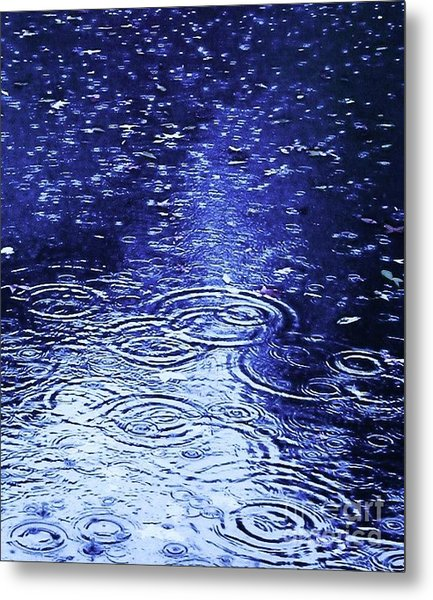 Blue Raindrops Metal Print by Maria Scarfone