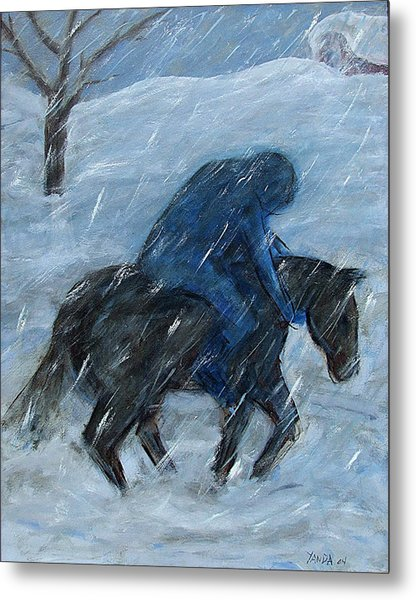 Blue Rider On Horse Metal Print