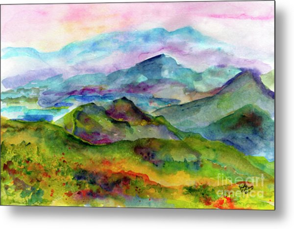 Blue Ridge Mountains Georgia Landscape  Watercolor  Metal Print