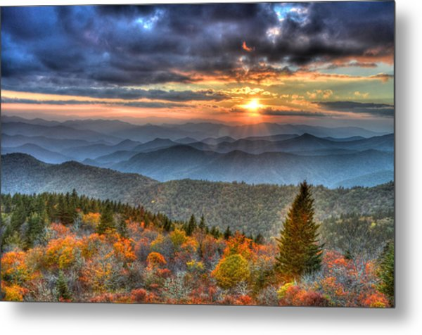 Blue Ridge Mountains Sunset Metal Print by Mary Anne Baker