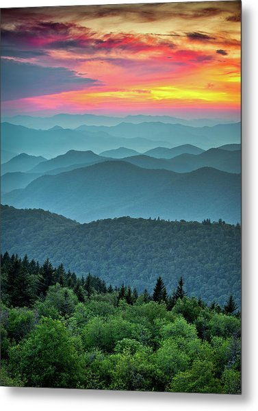 Blue Ridge Parkway Sunset - The Great Blue Yonder Metal Print