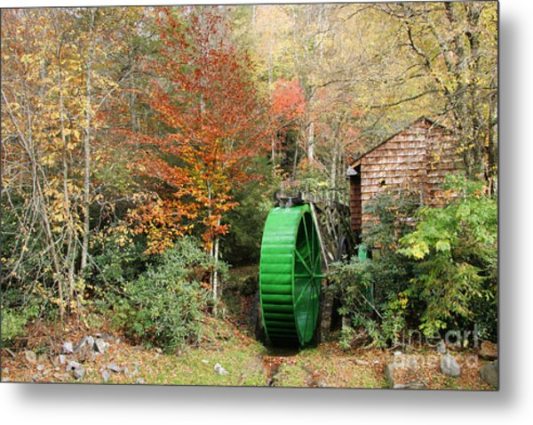 Blue Ridge Waterwheel Metal Print by Stan and Anne Foster