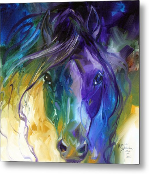 Blue Roan Abstract Metal Print
