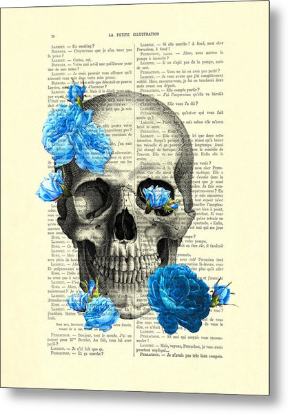 Blue Roses With Skull Art Print Metal Print