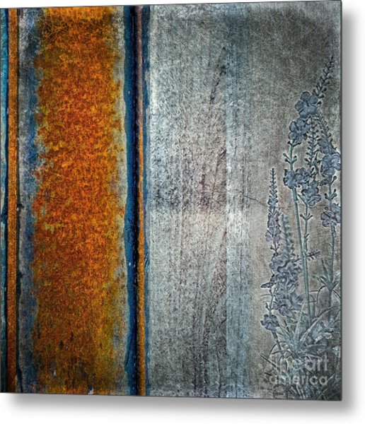 Metal Print featuring the mixed media Blue Rust by Lita Kelley