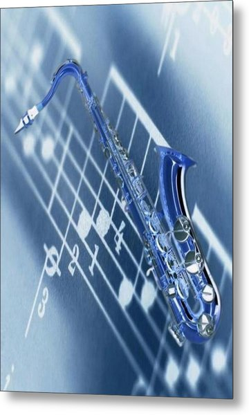 Blue Saxophone Metal Print