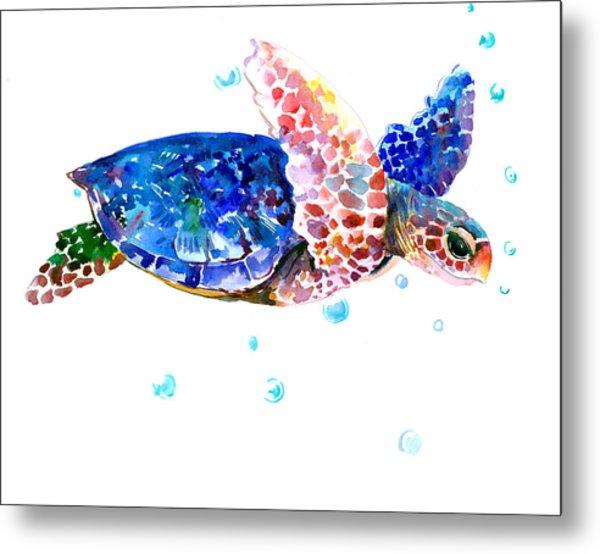 Blue Sea Turtle Metal Print