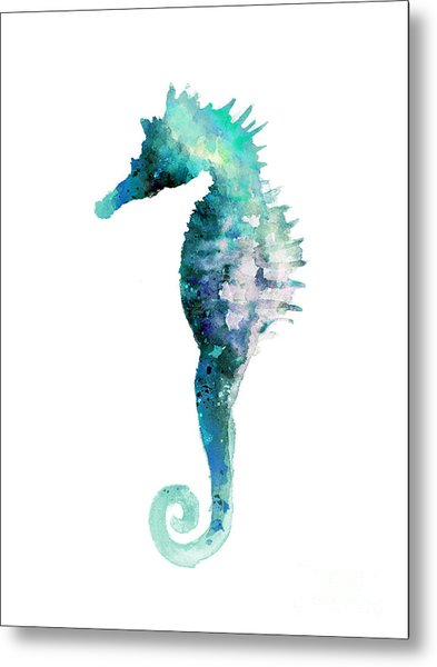 Blue Seahorse Watercolor Poster Metal Print