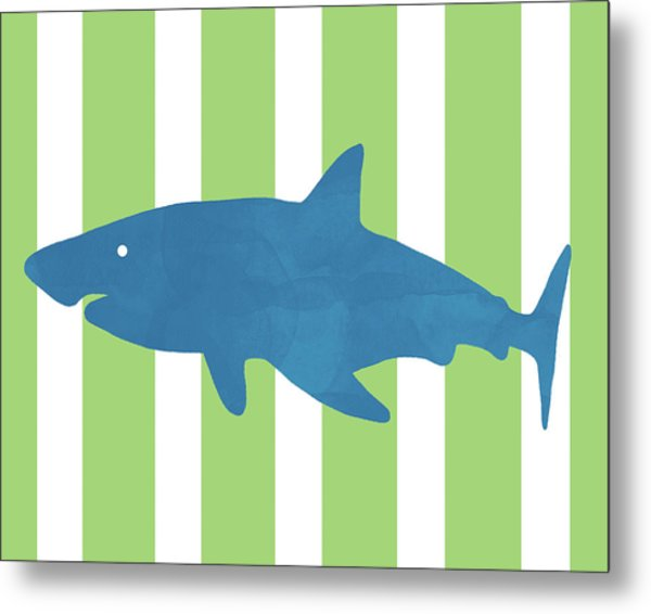 Blue Shark 1- Art By Linda Woods Metal Print
