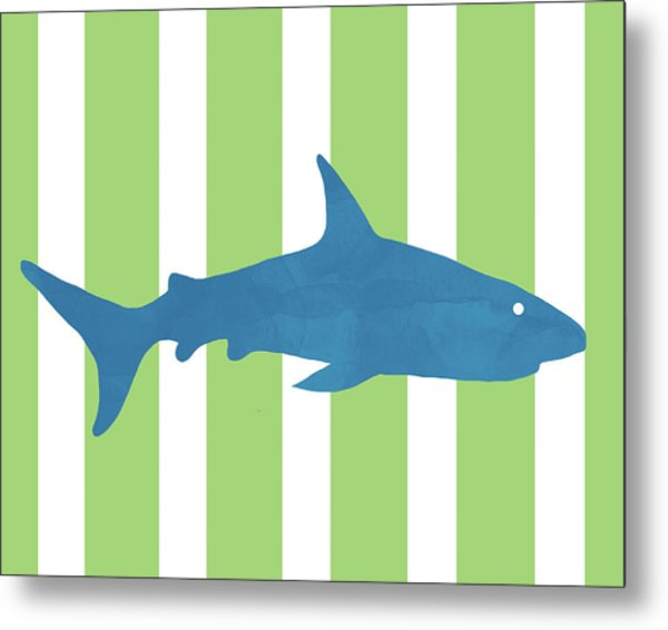 Blue Shark 2- Art By Linda Woods Metal Print