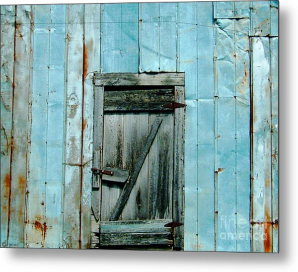 Blue Shed Door  Hwy 61 Mississippi Metal Print