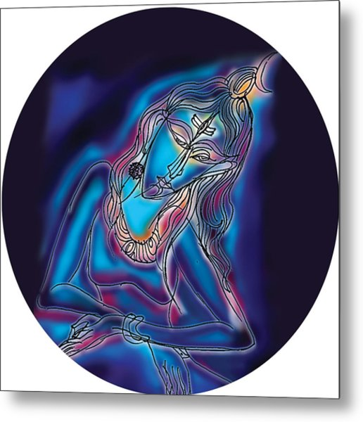 Blue Shiva Light Metal Print