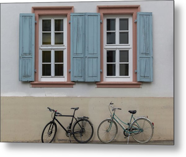 Blue Shutters And Bicycles Metal Print