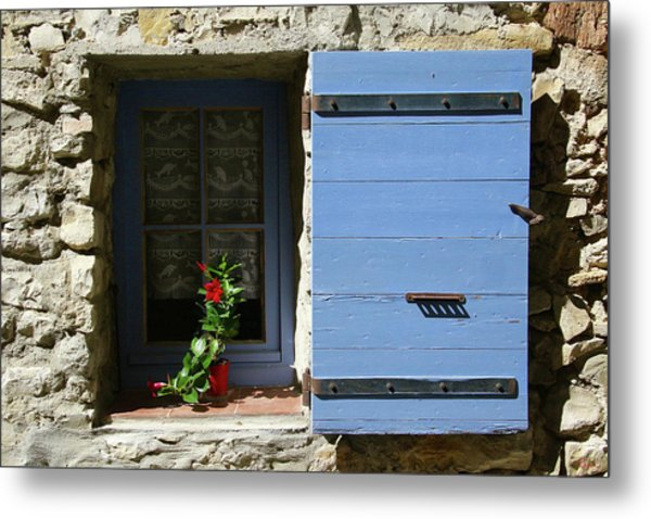 Metal Print featuring the photograph Blue Shutters by Rasma Bertz