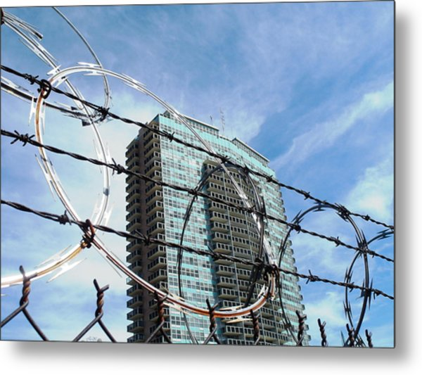 Blue Sky And Barbed Wire Metal Print