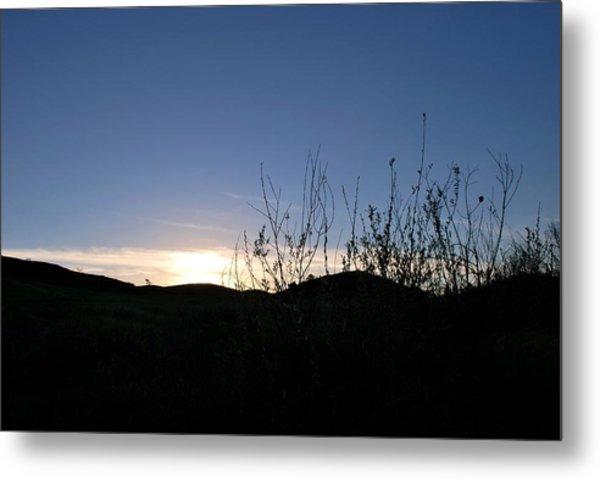 Blue Sky Silhouette Landscape Metal Print