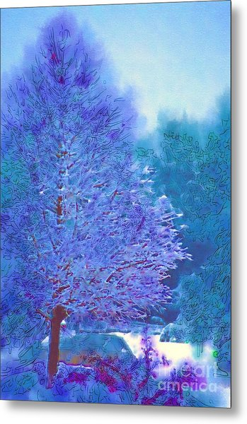 Blue Snow Scene Metal Print