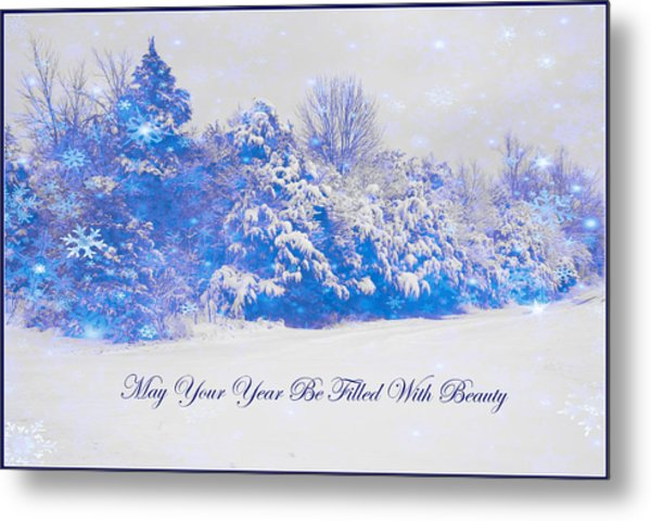 Blue Snowy Christmas Scene Metal Print by Angela Comperry