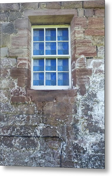 Metal Print featuring the photograph Blue Squares In The Castle Window by Christi Kraft