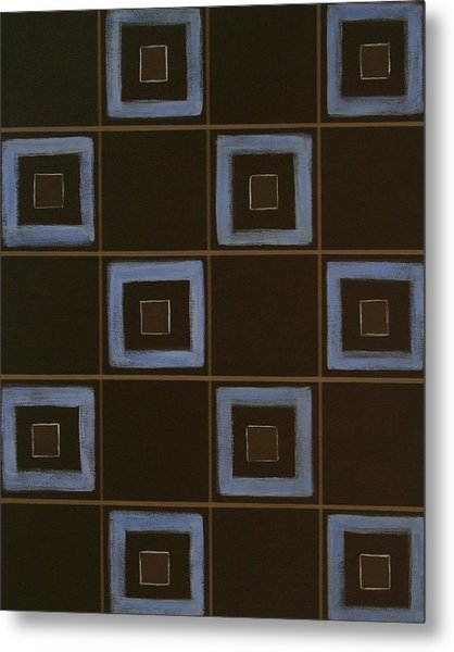 Blue Squares Metal Print by Sandy Bostelman