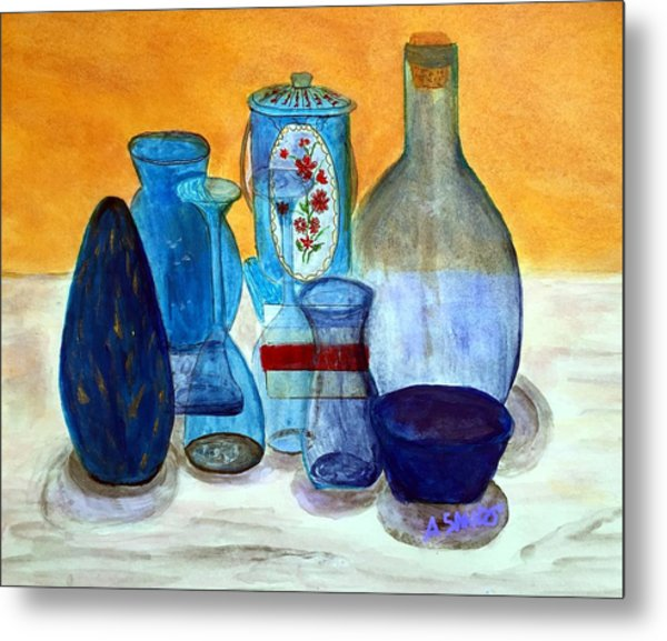 Blue Still Life Metal Print