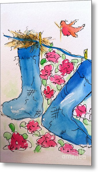 Metal Print featuring the painting Blue Stockings by Claire Bull